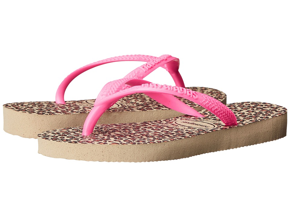 Havaianas Kids Slim Animals Toddler/Little Kid/Big Kid Sand Grey/Pink Girls Shoes
