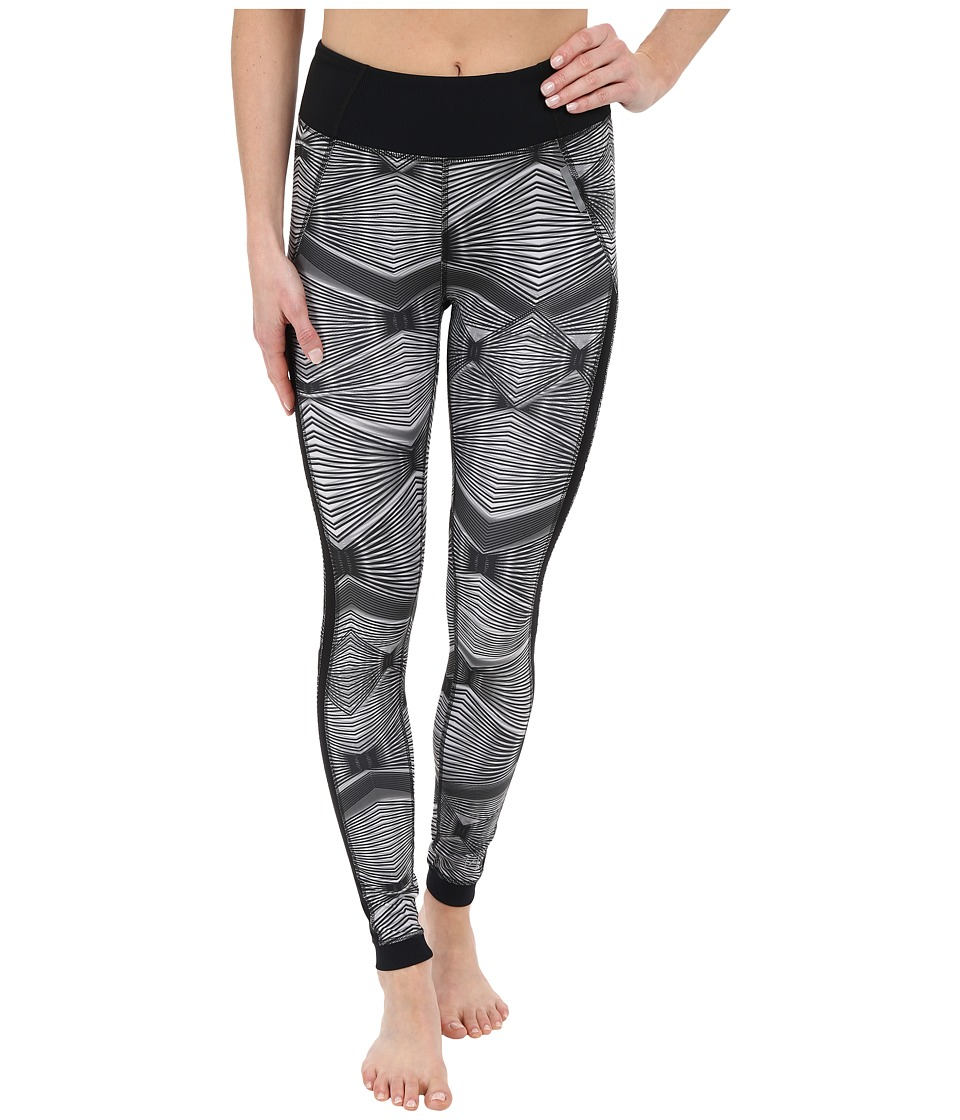 Zobha Fitted Printed Leggings w/ Mesh Side Panels Black Womens Workout