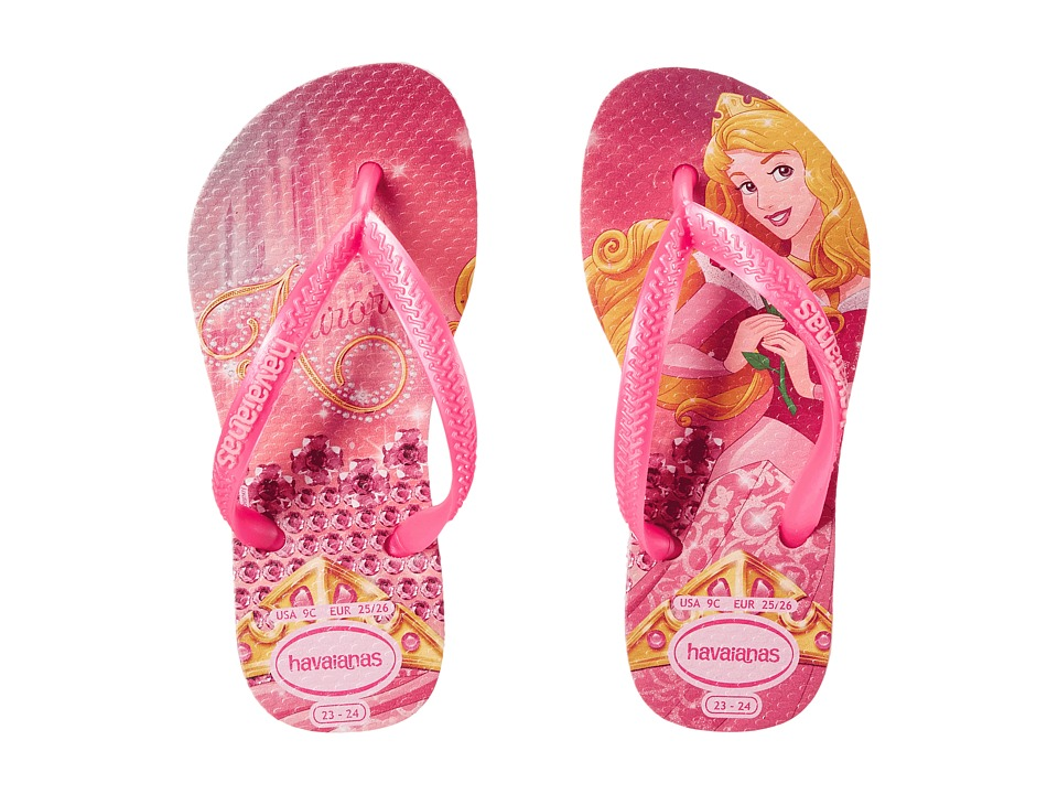 Havaianas Kids - Slim Princess Disney Flip Flops (Toddler/Little Kid/Big Kid) (Crystal Rose/Shocking Pink) Girl