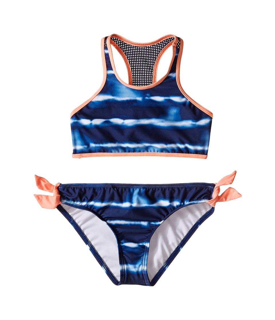 Splendid Littles Midnight Stripe High Neck Crop Top Hipster w/ Ties Big Kids Navy Girls Swimwear Sets