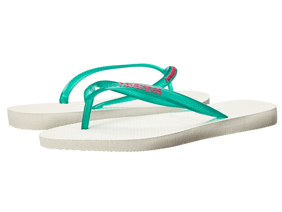 Havaianas Slim Logo Pop Up Flip Flops White/Lake Green Womens Sandals