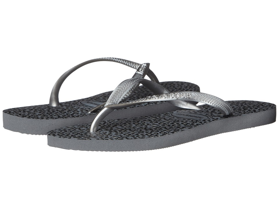 Havaianas Slim Animals Flip Flops (Steel Grey) Sandals