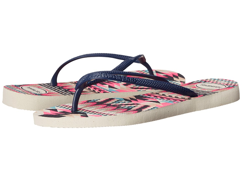Havaianas Slim Tribal Flip Flops (White/Navy Blue) Women