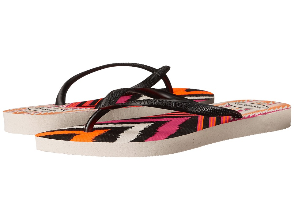 Havaianas Slim Tribal Flip Flops White/Black Womens Sandals