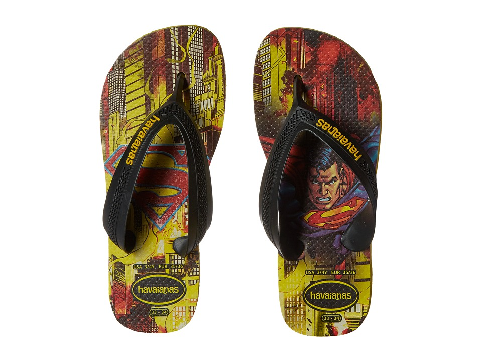 Havaianas Kids Max Heroes Toddler/Little Kid/Big Kid Black/Citrus Yellow Boys Shoes