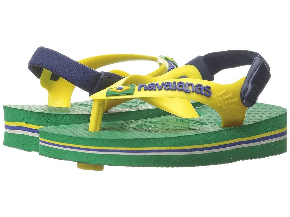 Havaianas Kids Baby Brasil Logo Flip Flops Toddler Green Boys Shoes