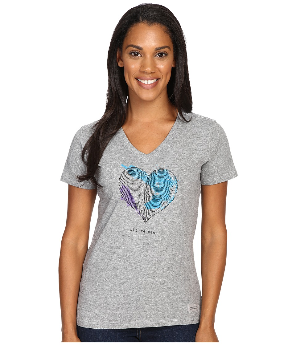 Life is good - Engraved All We Need Heart Crusher Vee (Heather Gray) Women