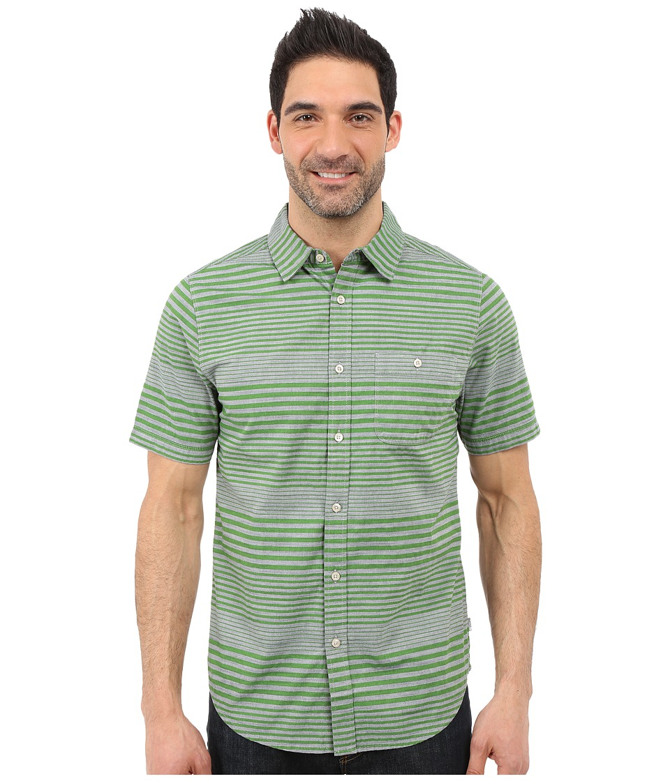 The North Face Short Sleeve Engine Stripe Shirt Vibrant Green Mens Short Sleeve Button Up