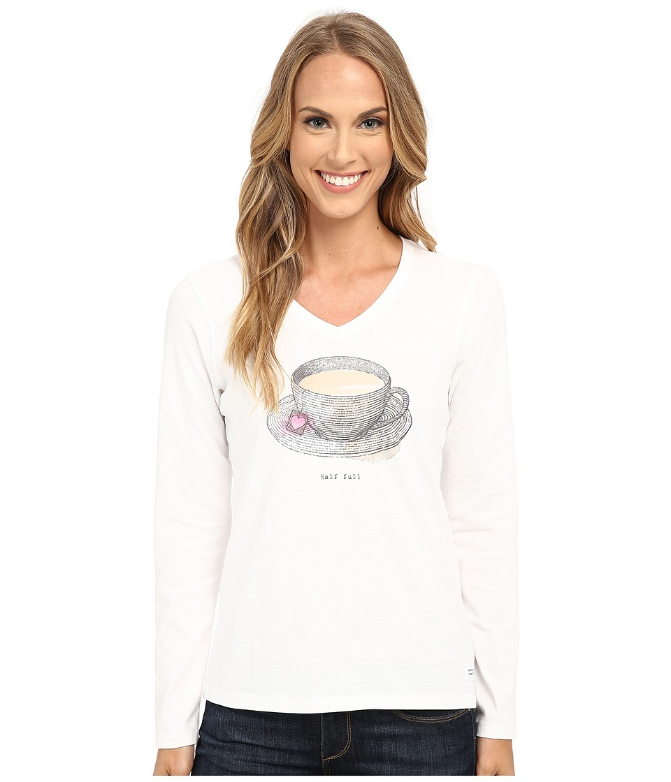 Life is good Half Full Crusher Vee Long Sleeve Cloud White Womens Long Sleeve Pullover