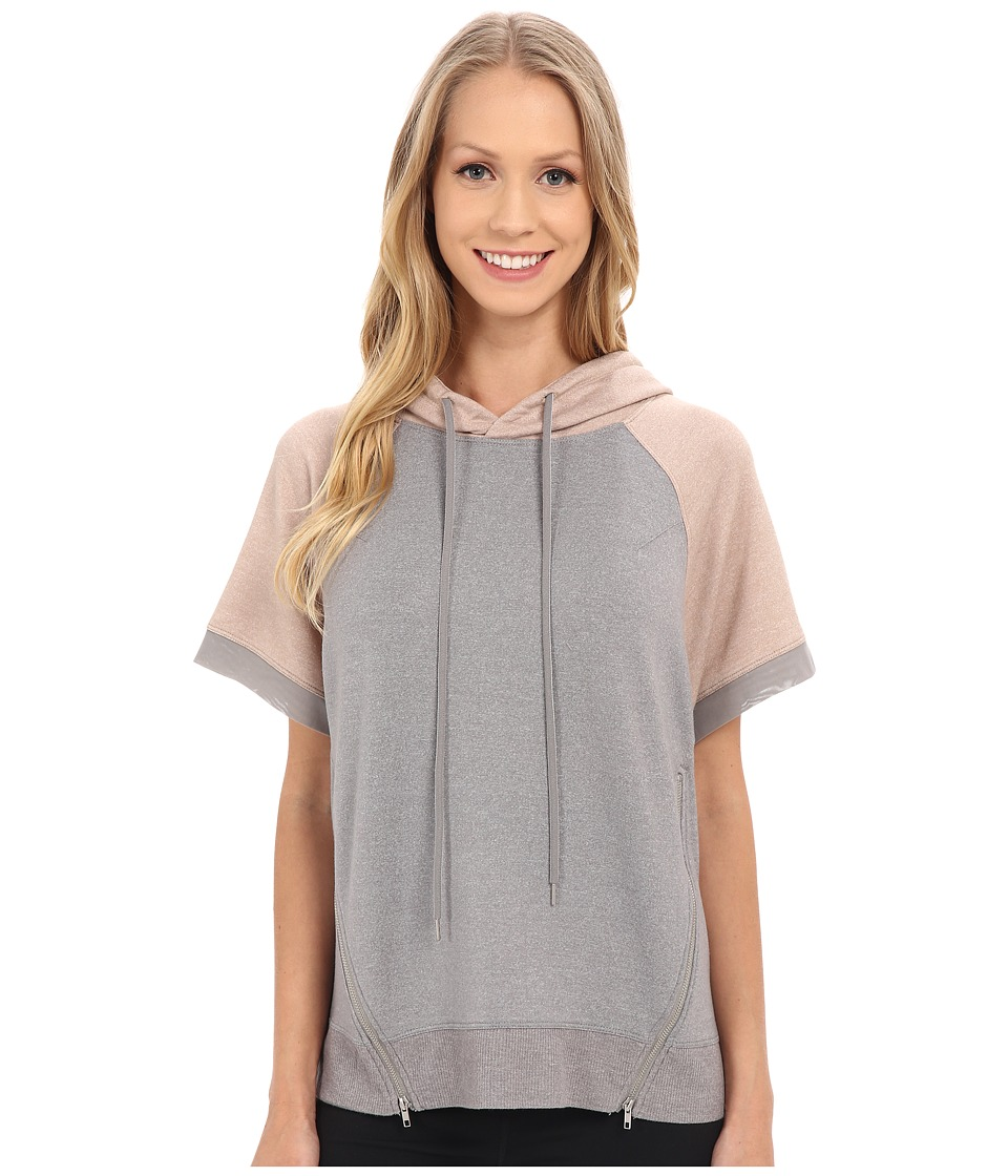 Zobha Short Sleeve Pullover w/ Color Blocking and Mesh Contrast Heather Grey Womens Short Sleeve Pullover
