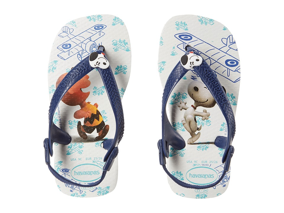 Havaianas Kids Snoopy Flip Flop Toddler White/Navy Blue Boys Shoes