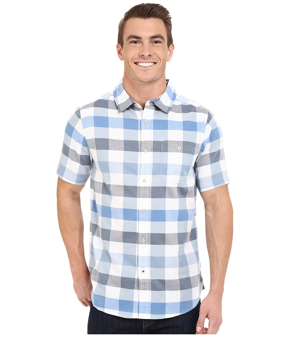 The North Face Short Sleeve Send Train Shirt Bomber Blue Plaid Mens Short Sleeve Button Up