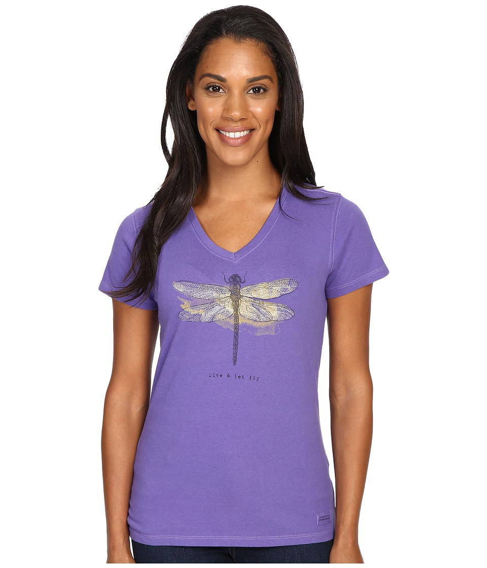 Life is good - Engraved Let It Fly Dragonfly Crusher Vee (Blue Violet) Women