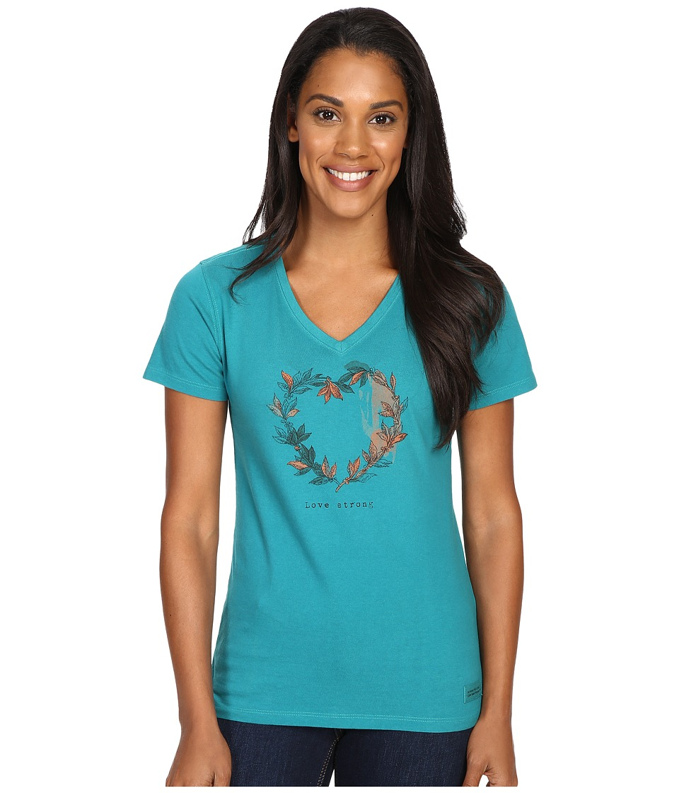 Life is good - Engraved Strong Heart Branches Crusher Vee (Beachy Teal) Women
