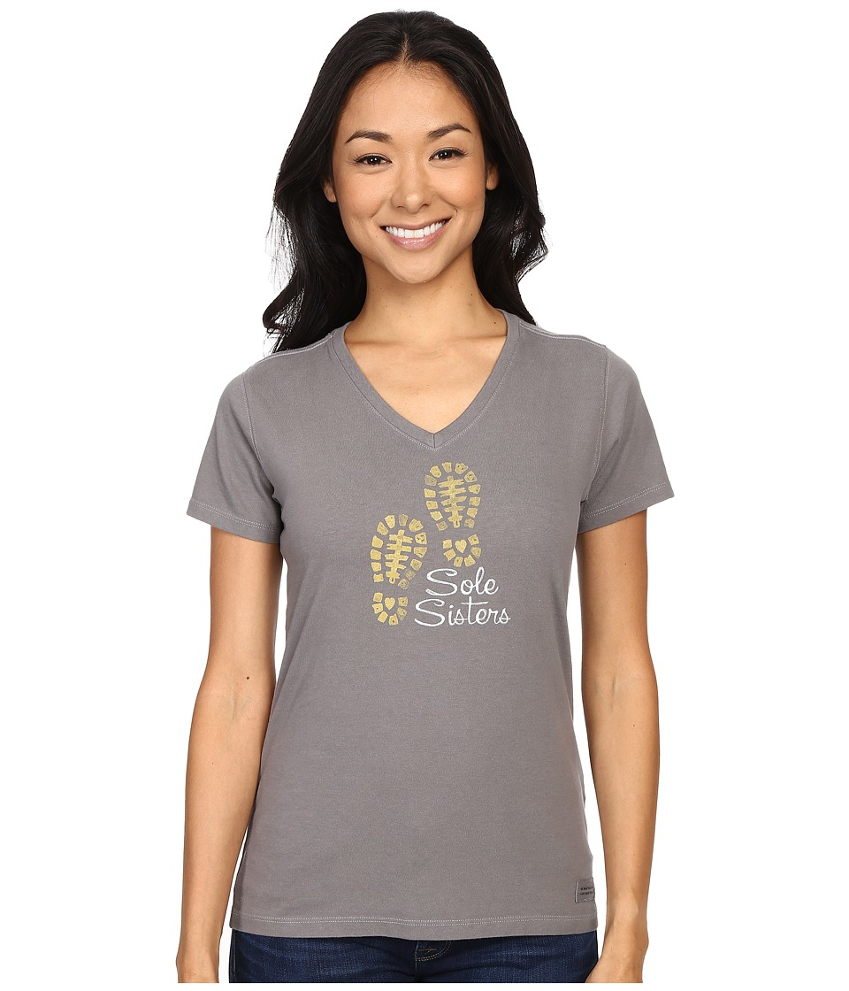 Life is good Sole Sisters Crusher Vee Slate Gray Womens T Shirt