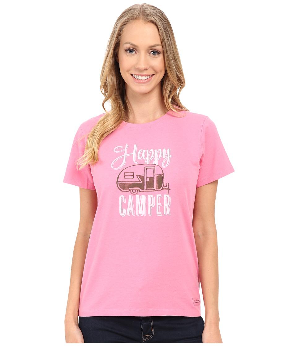 Life is good - Watercolor Happy Camper Crusher Tee (Rose Pink) Women