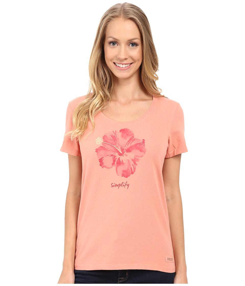 Life is good - Watercolor Simplify Hibiscus Crusher Scoop Tee (Tawny Peach) Women