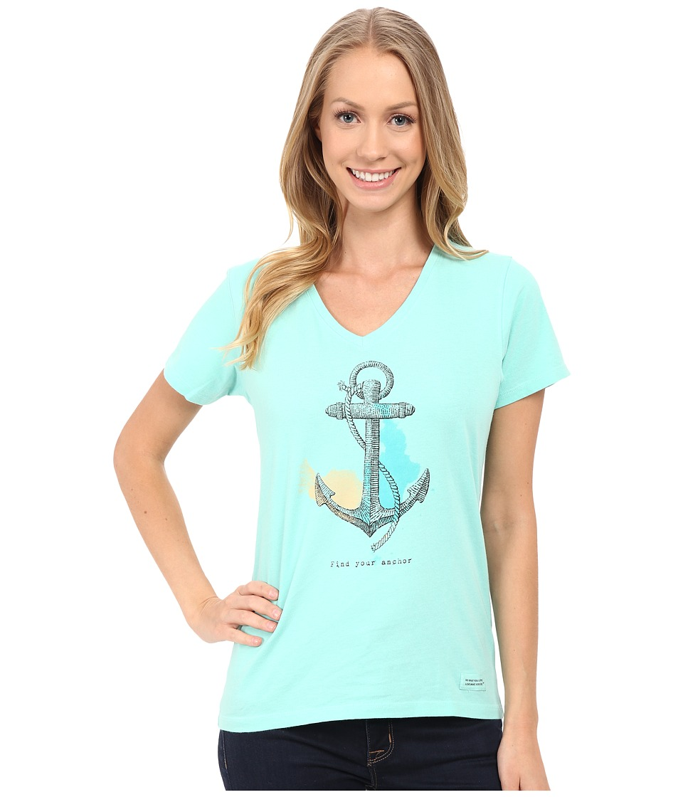 Life is good Find Your Anchor Crusher Vee Cool Aqua Womens T Shirt