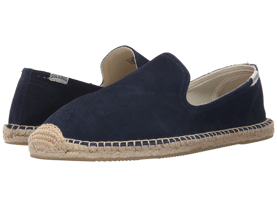 Soludos Smoking Slipper Suede Navy Mens Slippers