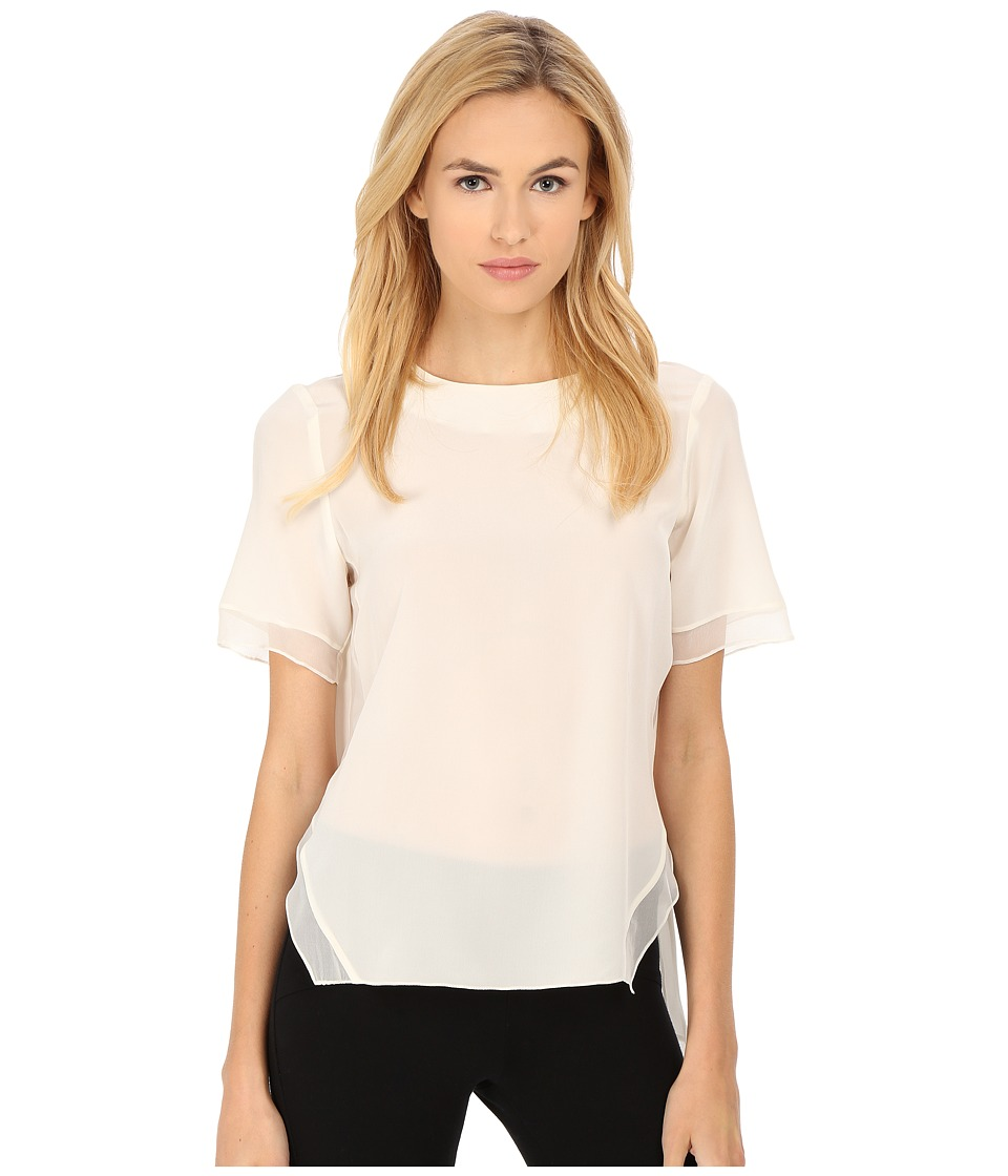 Prabal Gurung Crepe De Chine Silk Short Sleeve Top Ivory Womens Clothing