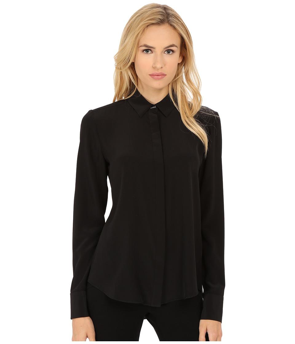 Prabal Gurung - Crepe De Chine Silk Long Sleeve Top (Black) Womens Long Sleeve Button Up