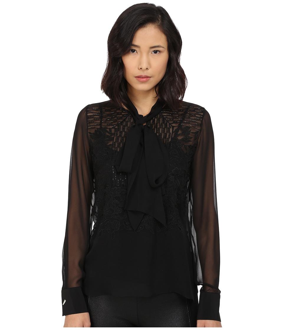 Prabal Gurung Embroidered Sheet Long Sleeve Top Black Womens Blouse
