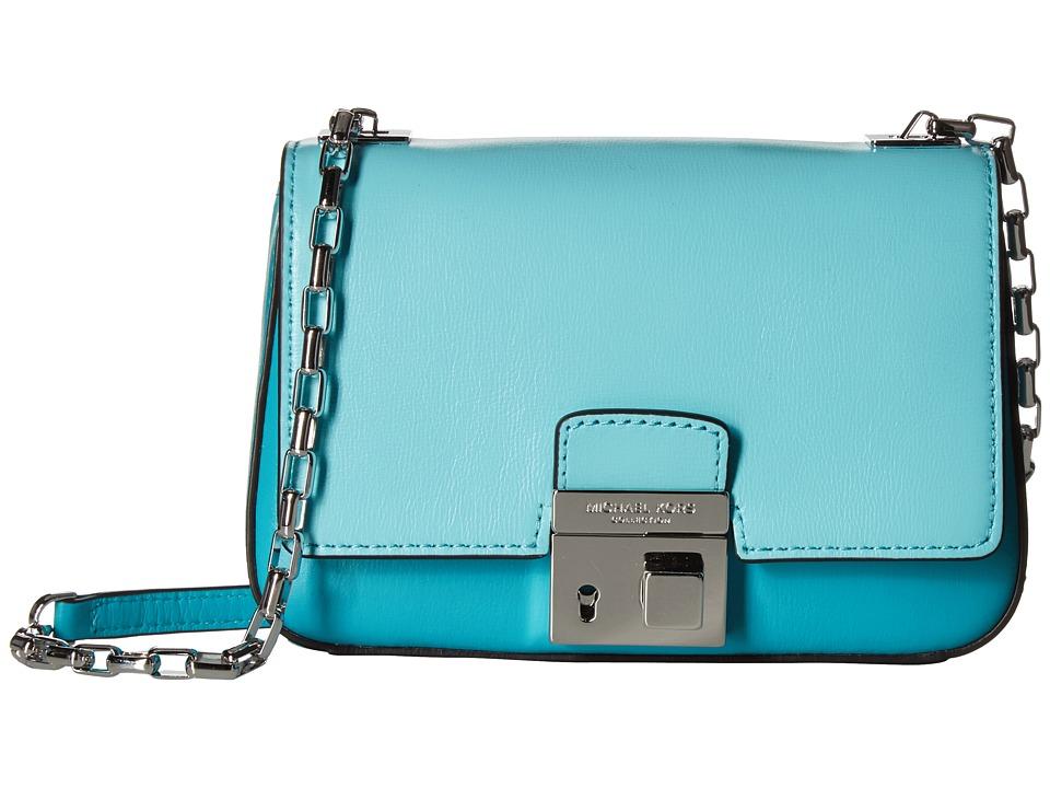 Michael Kors - Gia Small Chain Shoulder Flap Color Block (Aqua) Cross Body Handbags