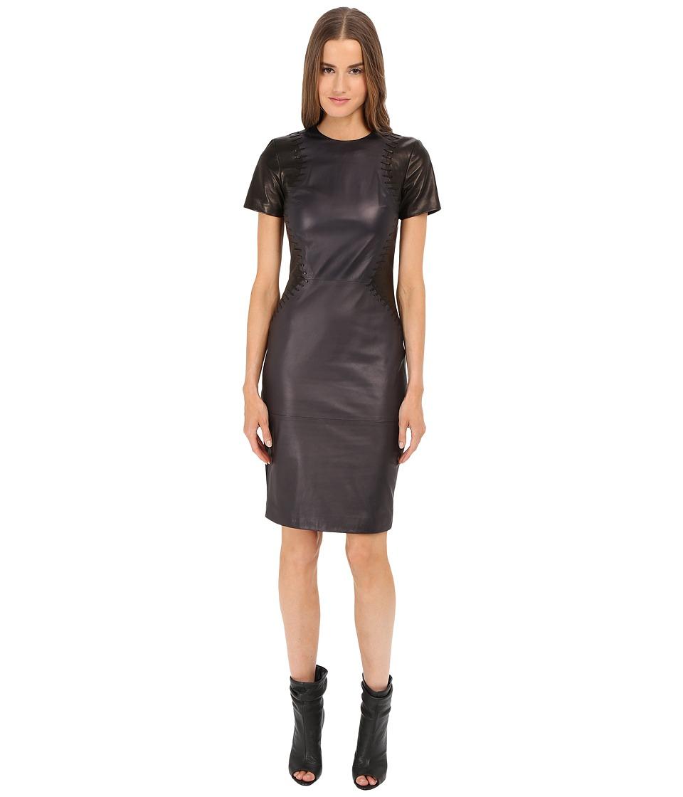 Prabal Gurung Leather Short Sleeve Dress Navy/Black Womens Dress
