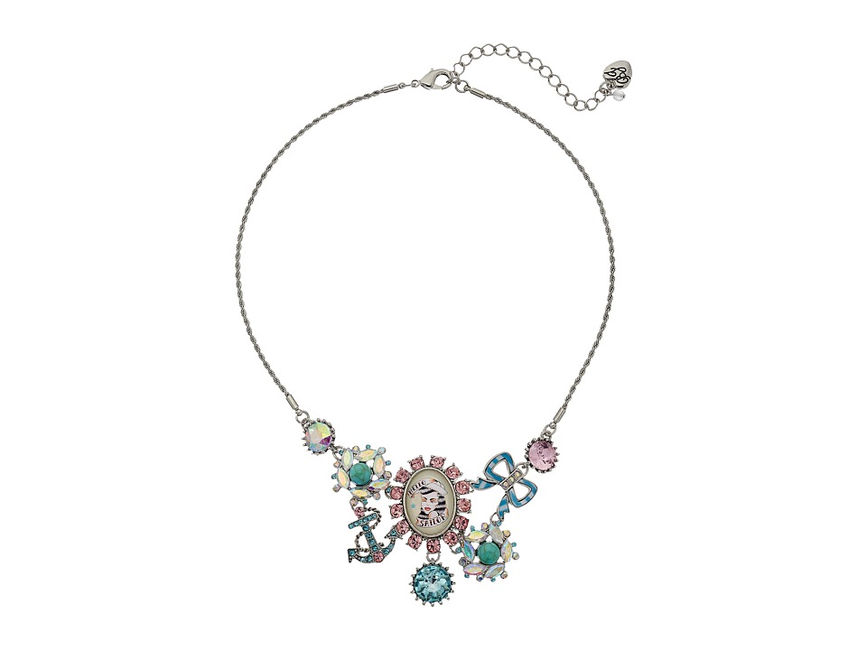 Betsey Johnson Anchors Away Cameo Cluster Frontal Necklace Pink/Blue Necklace
