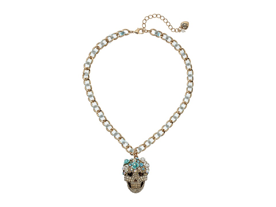Betsey Johnson Skulls and Roses Skull Head Pendant Necklace Blue Multi Necklace