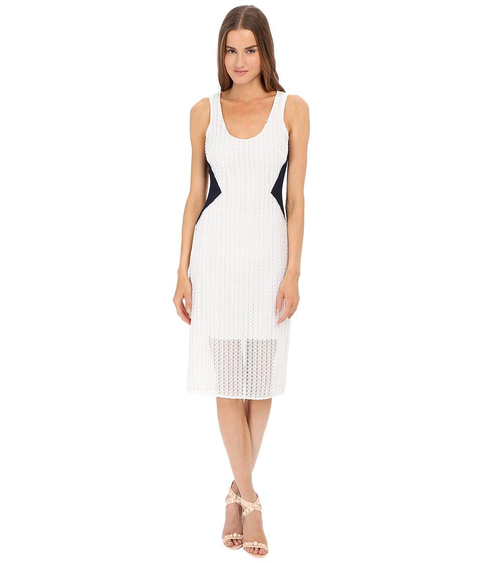 Prabal Gurung Lace Tank Dress w/ Sheer Overlay Navy/White Womens Dress