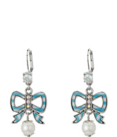 Betsey Johnson - Anchors Away Striped Bow Drop Earrings