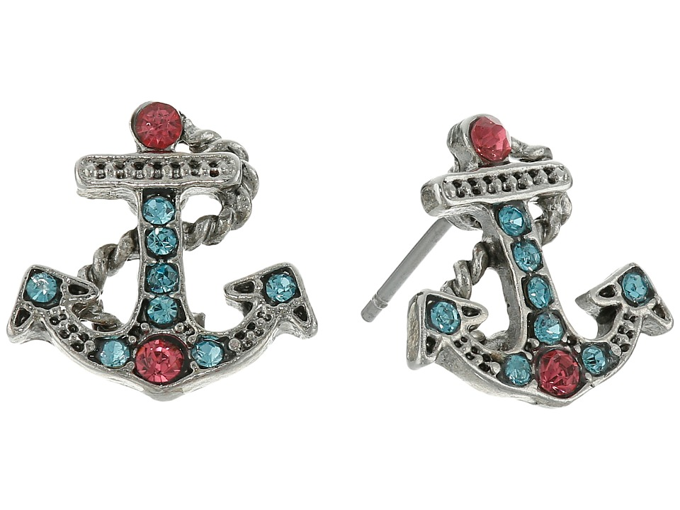 Betsey Johnson Anchors Away Mini Anchor Sutd Earrings Pink/Blue Earring