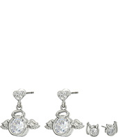 Betsey Johnson - Mini CZ's Devil Angel Duo Stud Earrings