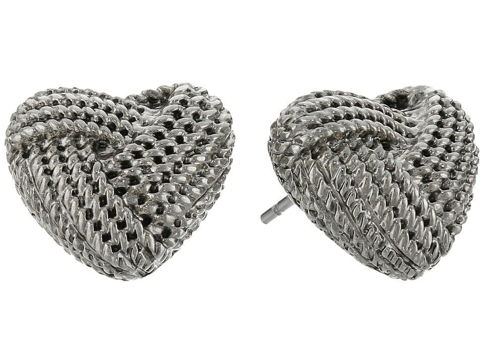 Betsey Johnson Anchors Away Heart Rope Stud Earrings Silver Earring