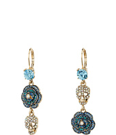 Betsey Johnson - Skulls and Roses Flower Non-Matching Earrings