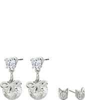 Betsey Johnson - Mini CZ's Cat Bow Duo Stud Earrings
