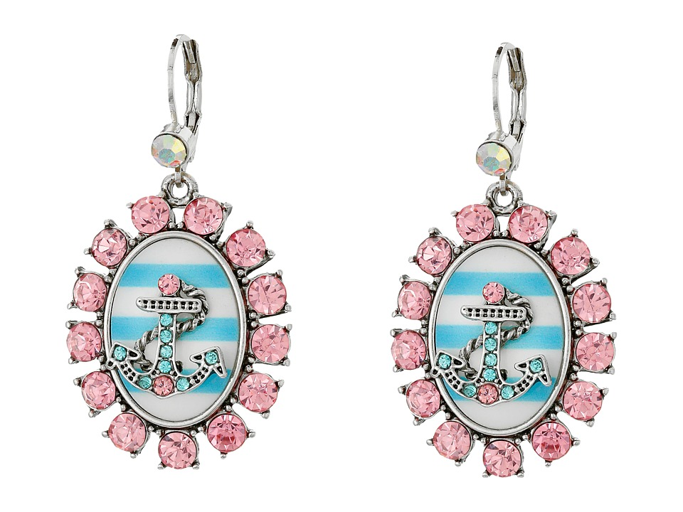 Betsey Johnson Anchors Away Cameo Drop Earrings Pink/Blue Earring