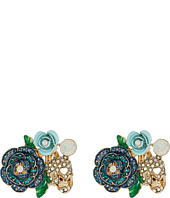 Betsey Johnson - Skulls and Roses Flower Clip On Earrings
