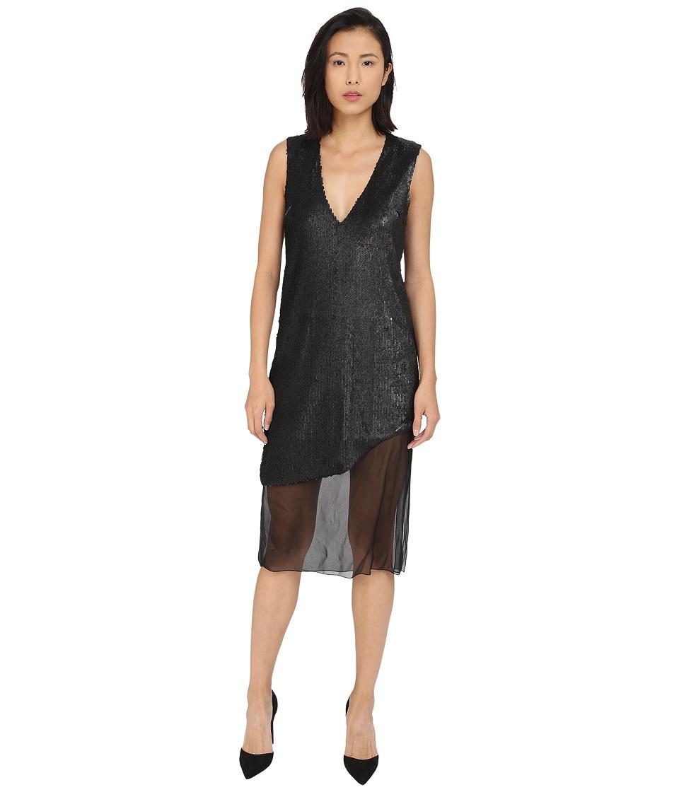 Prabal Gurung Dusted Pailette Sleeveless Dress w/ Sheer Overlay Black Womens Dress