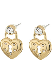 Betsey Johnson - Prisoner of Love Heart Lock Stud Earrings