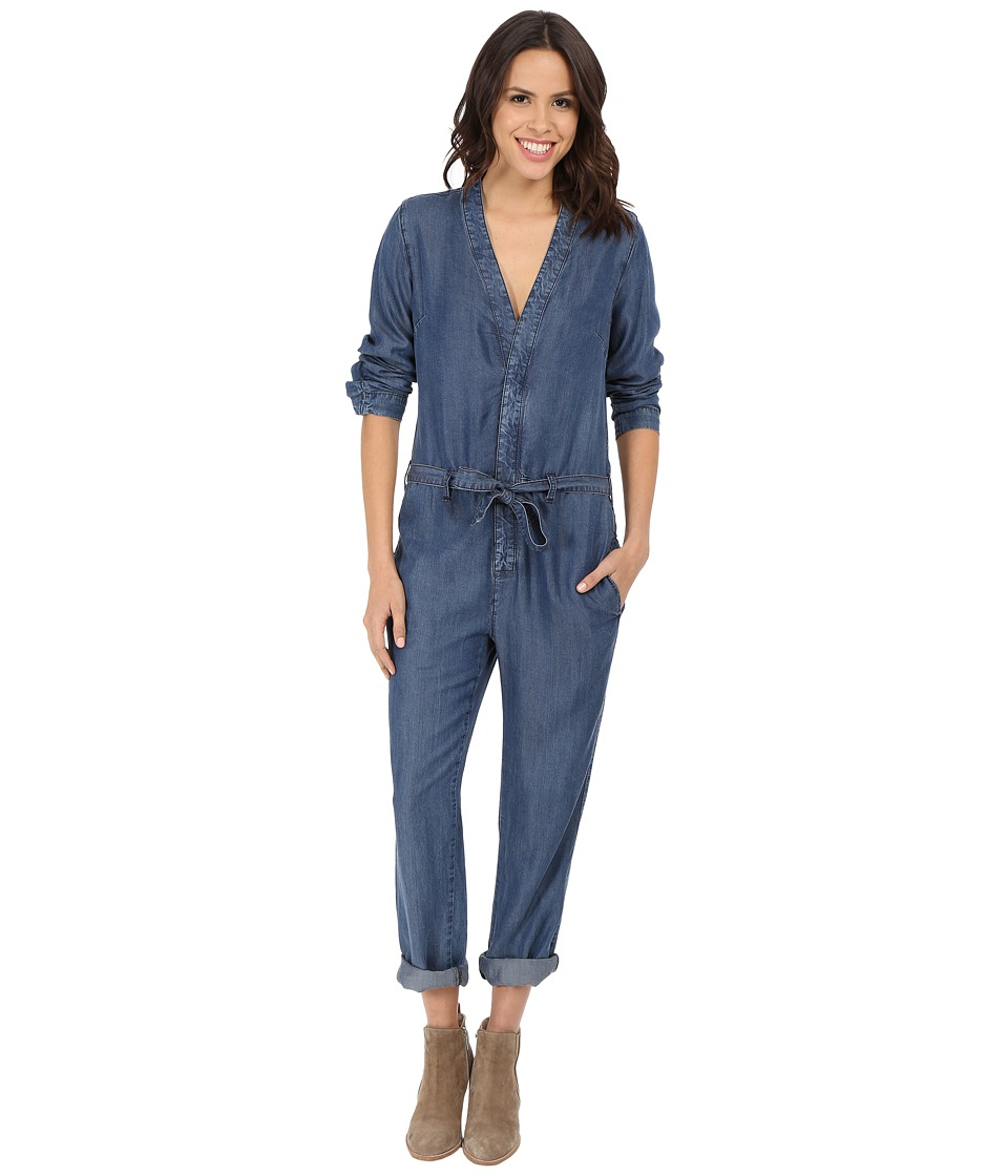 Free People Lou Denim One Piece in Imperial Imperial Womens Jumpsuit Rompers One Piece