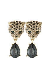 Betsey Johnson - Critters Pave Leopard Drop Earrings