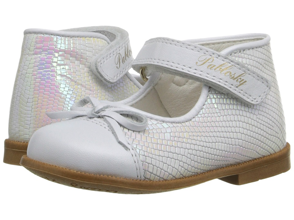 Pablosky Kids 0771 Infant/Toddler White Patent Girls Shoes