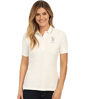 U.S. POLO ASSN. - Silver Lurex and Sparkle Button Polo Shirt