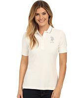 U.S. POLO ASSN. - Silver Lurex and Sparkle Button Polo Shirt
