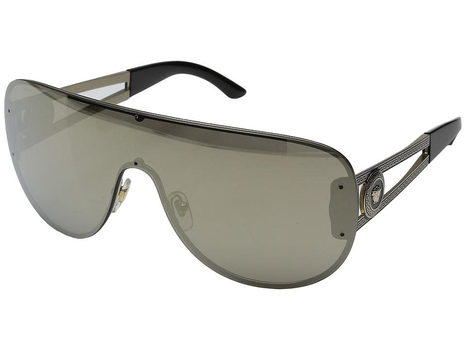 Versace VE2166 Pale Gold/Black/Light Brown Mirror/Dark Gold Fashion Sunglasses