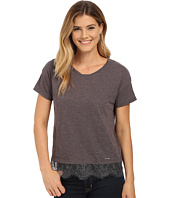 U.S. POLO ASSN. - Lace Hem Crew Neck Mélange T-Shirt