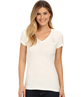 U.S. POLO ASSN. - Lace Trimmed V-Neck Short Sleeve T-Shirt