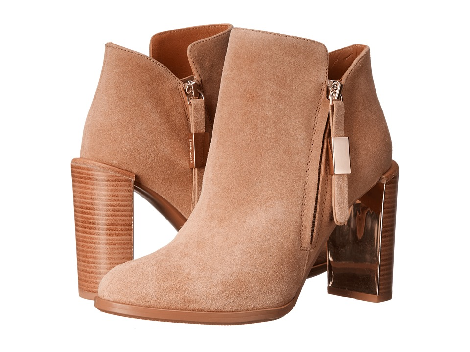 See by Chloe - Heel with Metallic Detail Zip Bootie (Beige) Women